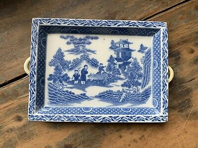 ANTIQUE Vintage CHINESE POTTERY TEA TRAY blue & white card tray willow buffalo