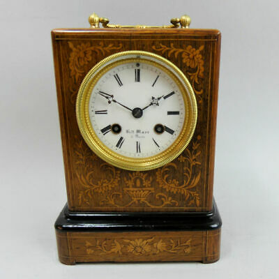 Victorian Antique French Bell Strike 8 Day Rosewood Inlaid Mantle Clock G.w.o.