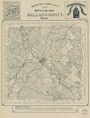 """18"""" x 24""""  Map Of Dallas County Texas United States"""