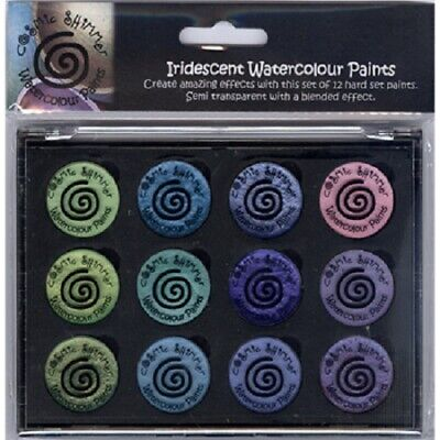 COSMIC SHIMMER IRIDESCENT Watercolour Paints x 12 GREENS & PURPLES Set 5