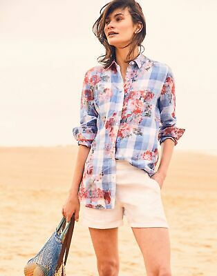 Joules Womens Jeanne Print Longline Linen Shirt in BLUE GINGHAM FLORAL Size 6
