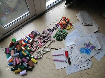 Job lot Of Embroidery Thread , Needle Punch, Transfers and Patterns