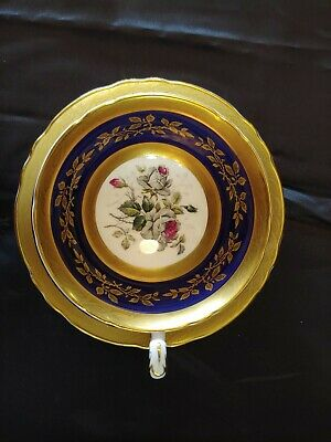 Paragon Tea Cup And Saucer Gold Cobalt Blue Cabbage Rose Bouquet Wide Mouth