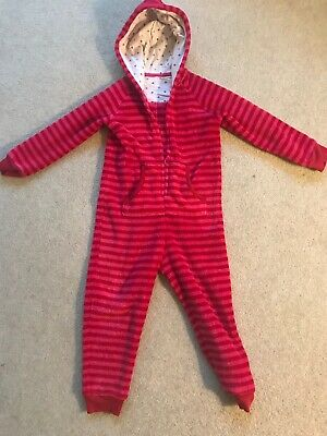 Girl Pink Stripe One Piece All In One Pyjama / Pj Age 4-5 From M&S