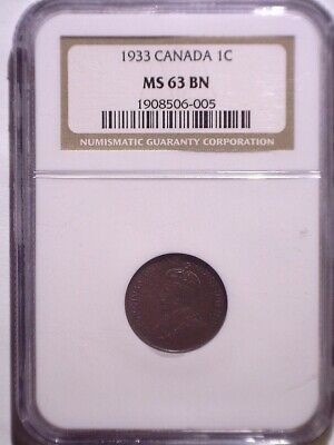 1933 NGC MS63BN Canada Small One Cent - Clean Holder - Penny - 1C