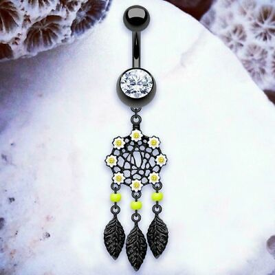 DEMI Dreamcatcher Belly Ring Black Belly Button Rings Dangle Belly Bars Dangly