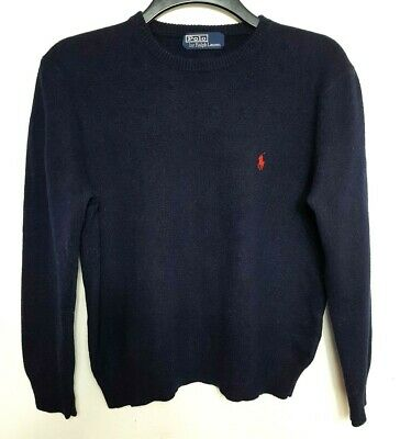 Polo By Ralph Lauren Mens Jumper Sweater M Navy Blue Red 100% Lambswool