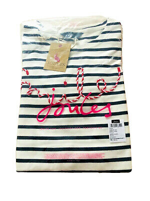 BNWT Joules Girls Navy Stripe Smile Harbour Luxe Embellished Top, Size 9Yr-10Yr