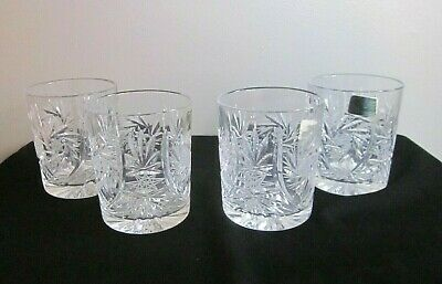 Set of 4 Vintage Hand Cut Crystal Old Fashioned Whiskey Glasses New!  24% Lead
