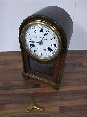 Antique Wooden Mantle Clock with Porthole Glass Front RFT Wilson