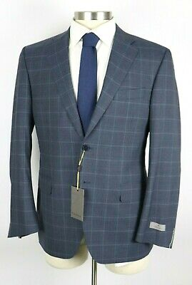 NWT Canali 1934 Slate Blue Check Year Round Wool Suit 40 R Regular Fit 50 EU