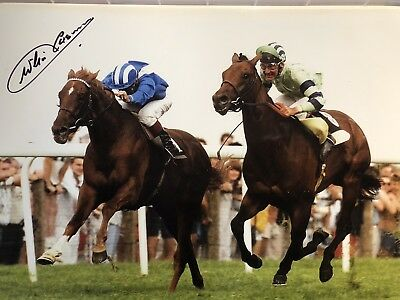Jockey Willie Carson signed NASHWAN large horse racing photo UACC DEALER SIGNING