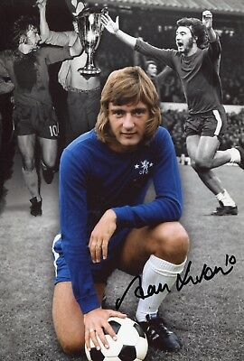 Footballer Alan Hudson signed Chelsea montage photo UACC DEALER