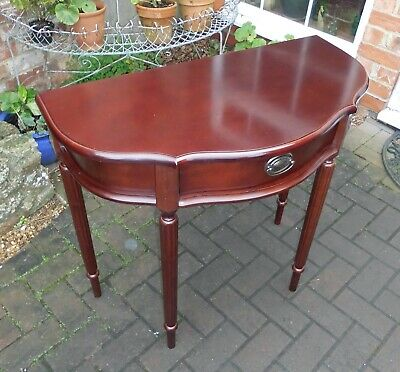 Serpentine Demi-Lune Console Table W/Drawer~Hall~Lamp~Side Table~Mahogany Finish