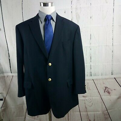 Stafford 48R 2 Metal Button Navy Blue Suit Blazer Sports Coat
