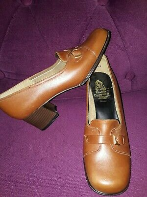 """Hush Puppies Beauly Vintage 1970S Tan Leather Shoes 2"""" Heel Size 5.5 Eu 38.5"""