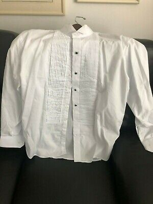 Berlioni Men's Tuxedo Wing Tip Dress Shirt Black Studs and/or White Buttons