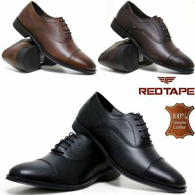 Mens Leather Shoes Smart Office Wedding Oxford Formal Toe Cap Cadet Work Shoes