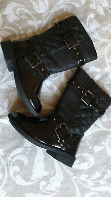 Girls Long Quilted Black Faux Patent Leather Boots Size UK infant 6 / 23