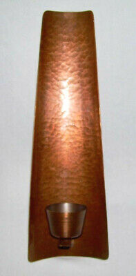 WALL ~ Vintage Arts & Crafts Solid Hammered Copper SCONCE w/Pillar Cup ~ Germany