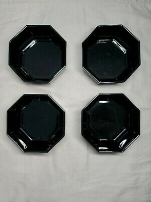 4 Arcoroc Octime Octagon Black Glass French Modern Cereal / Soup Bowls