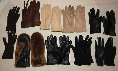 9 pairs vintage old ladies gloves mittens faux fur leather England St Michael