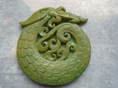 Old Chinese natural jade hand-carved dragon and locust from private collection