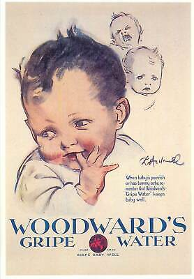 Postcard advertising Woodwards Gripe Water Keeps baby well