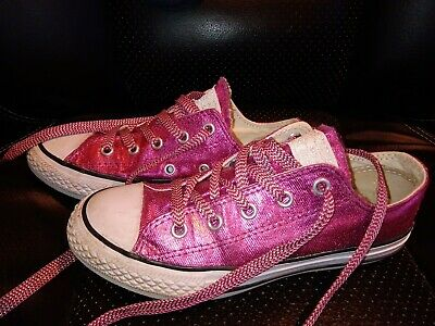 Girls Converse Trainers Size Uk 13.5. EU 32 strong pink shiny sparkly