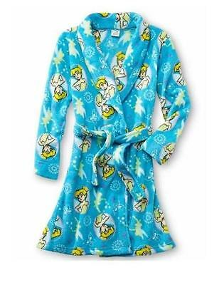 NEW DISNEY FAIRIES TINKERBELL TINK Fleece Bath Robe Pajama Girl size M 7/8