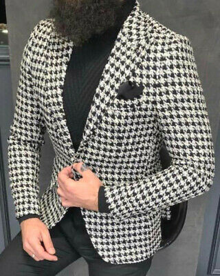 Designer Black White Pepita Houndstooth Jacket Blazer Jacket Fitted Fit Slim Fit