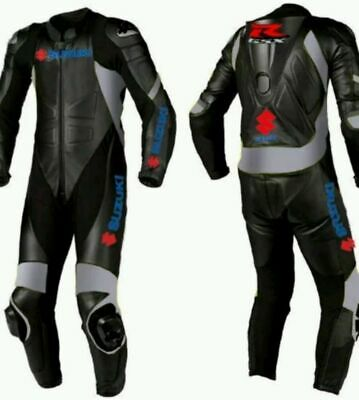 "Suit Leather ""Suzuki"" Motorbike Racing Motorcycle Sports All Size Ce Approved"