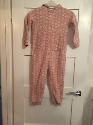 Lupilu Girls Pink Star Fleecy All In One Pyjamas/hooded All In One Age 4-6 Years