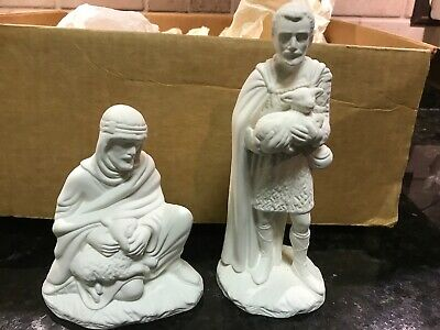 Vintage Holland Mold Ceramic Nativity 2 Shepherds Ready To Paint