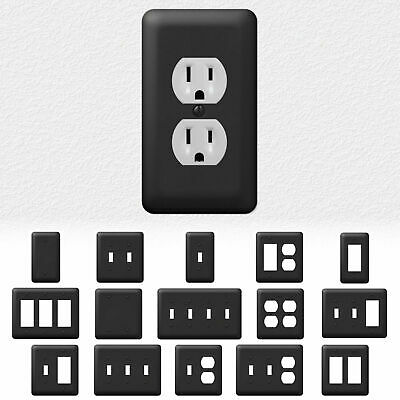 Black Metal Light Switch Wall Plate Outlet Cover Duplex Rocker - Enamel Finish