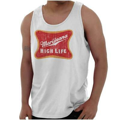 Marijuana High Life Funny Weed Stoner 420 Adult Tank Top T-Shirt Tees Tshirt