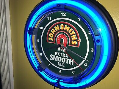 John Smith's Ale Beer Bar Man Cave Blue Neon Advertising Wall Clock Sign