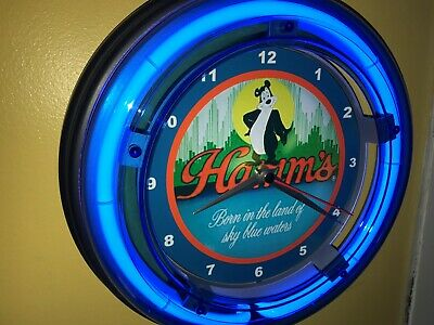 Hamm's Bear Beer Bar Man Cave Blue Neon Advertising Wall Clock Sign2