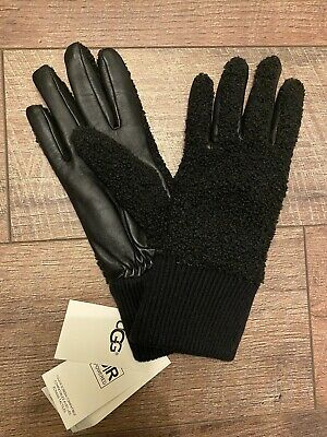 UGG Black Faux Sherpa Tech Gloves Women Sz S/M Runs Small New With Tags $75 MSRP
