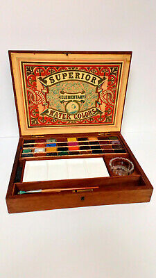 ANTIQUE Reeves & Sons Superior Elementary Water ColoUrs Paint Box Artist Box