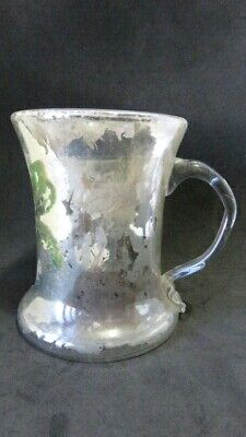Antique Victorian Mercury Glass Blown Glass Hand Painted Cup Mug