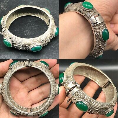 Jade stone  Wonderful Old Unique Rare Antique Silver bangle