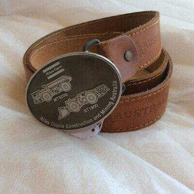 Men and Women's Brown Genuine Leather Belt stamped Australia and a Kangaroo
