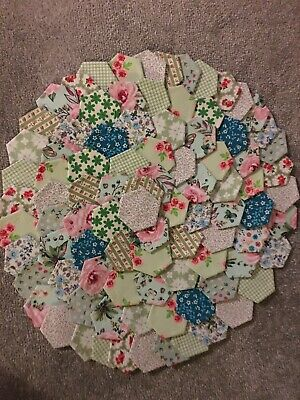 BRAND NEW READY TACKED PATCHWORK HEXAGONS X 100  Pinks & Greens  100% COTTON