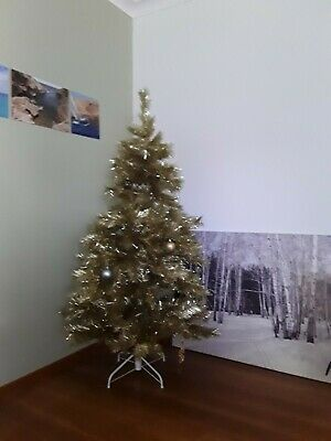 Vintage Collectable 1970's Gold Tinsel Christmas Tree