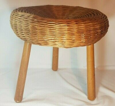 Wicker/Woven 3 Leg Foot Stool/Side Table/Conservatory/Vintage