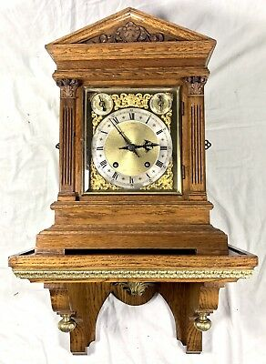 #Antique Ting Tang Oak Strike Silent Mantel Bracket Clock With Bracket W & H N02