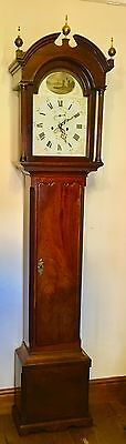 # Antique Mahogany Gesso Dial Longcase Grandfather AGAR MALTON 5 PILLAR MOVEMENT