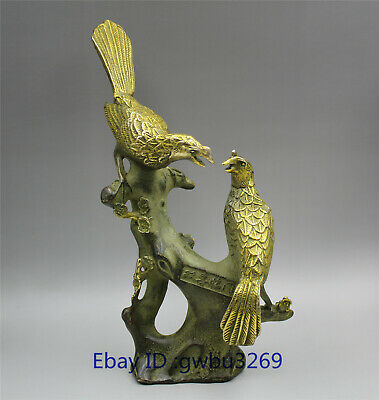 Collection old Chinese Bronze Gild Hand carved bird Magpies & plum Statue