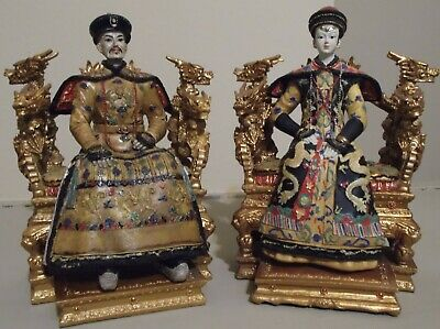 Chinese King & Queen Resin Statue/Figurines On Throne